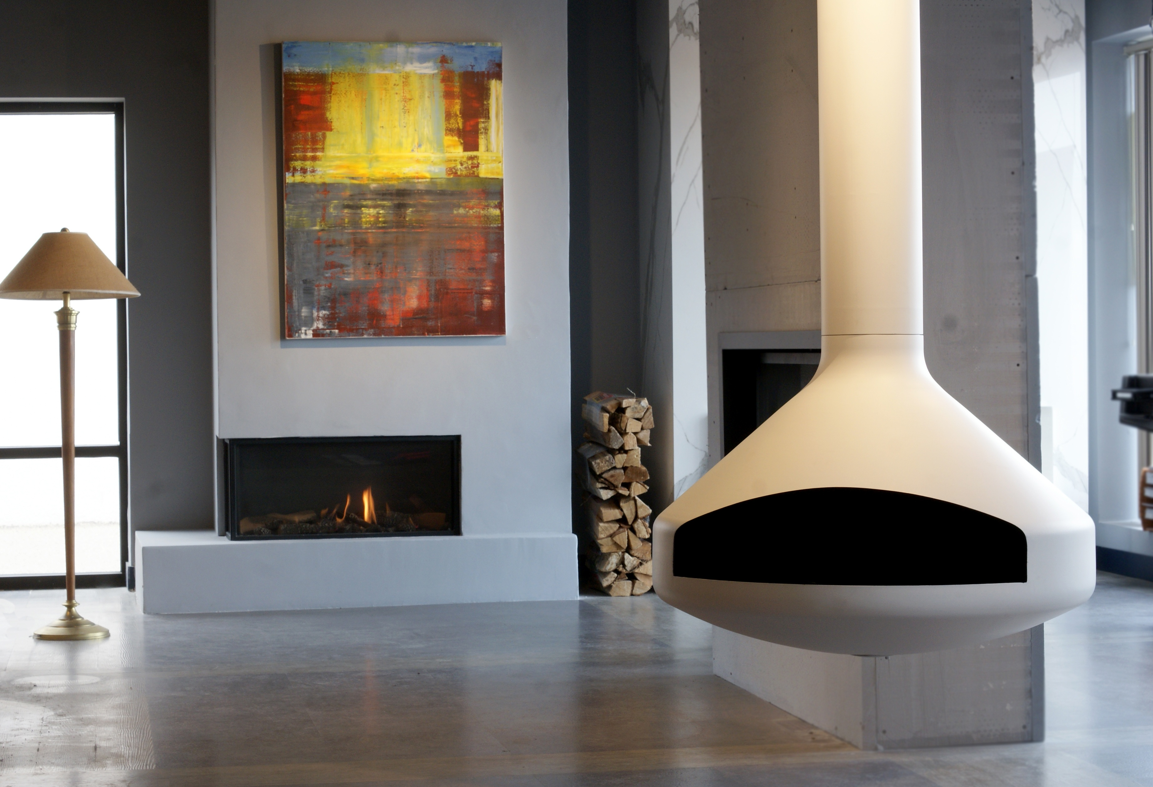 Suspended Fireplace in the All Seasons Fireplace Showroom