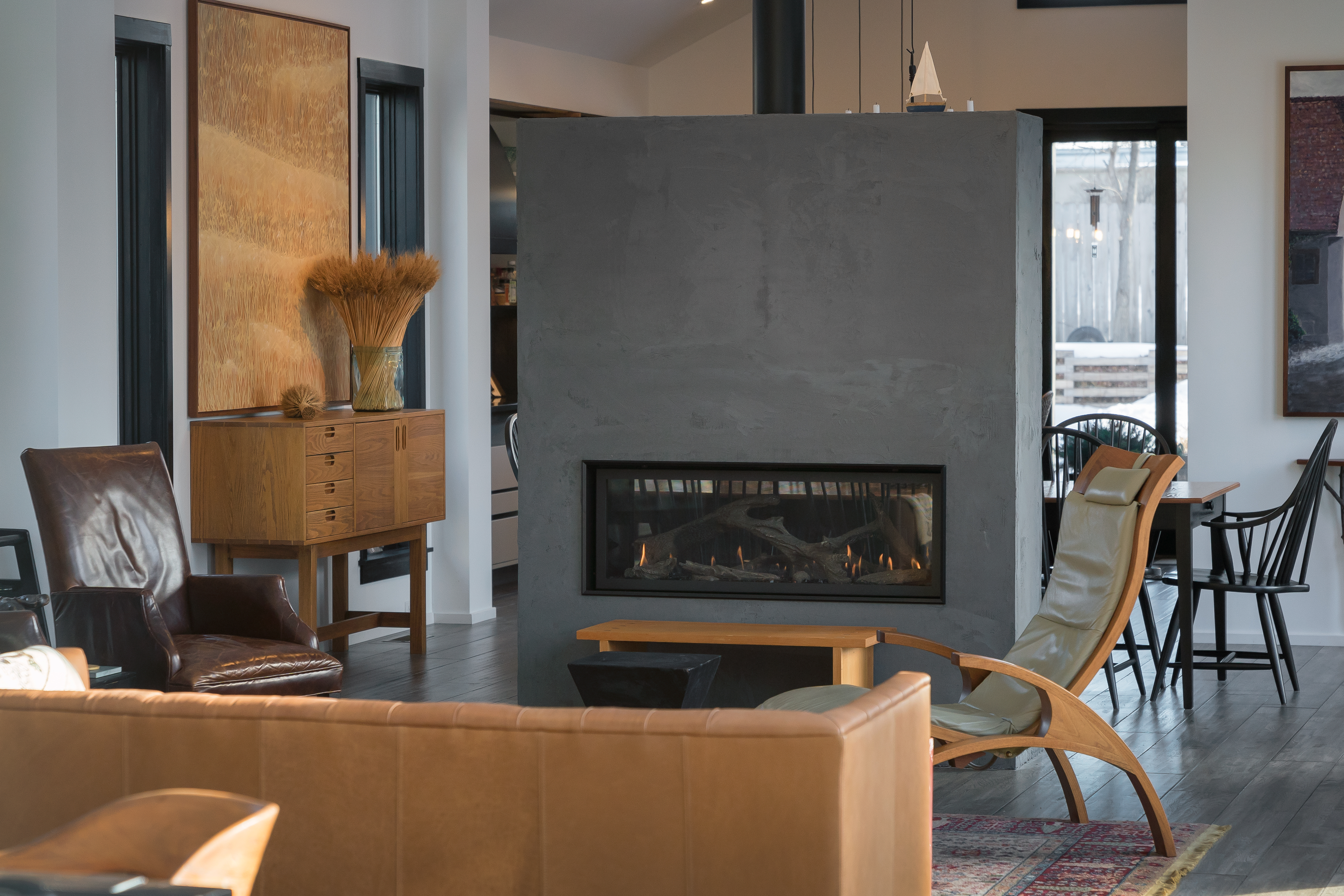 See Through Linear Gas Fireplace
