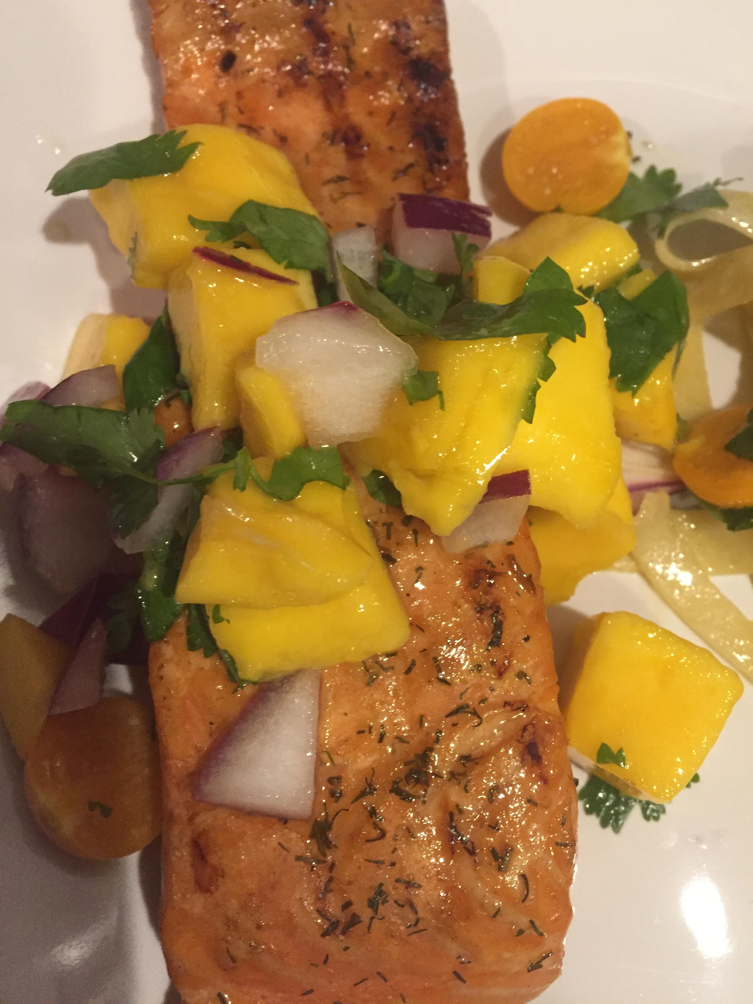 Primo grilled salmon with mango salsa