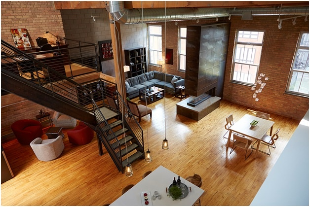 North Loop Industrial Loft with Peninsula 3 sided Fireplace